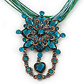 Teal Green Statement Diamante Charm Pendant Cord Necklace In Bronze Metal - 38cm Length/ 7cm Extension
