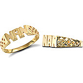 9ct Solid Gold Nan Ring with basket style shoulders