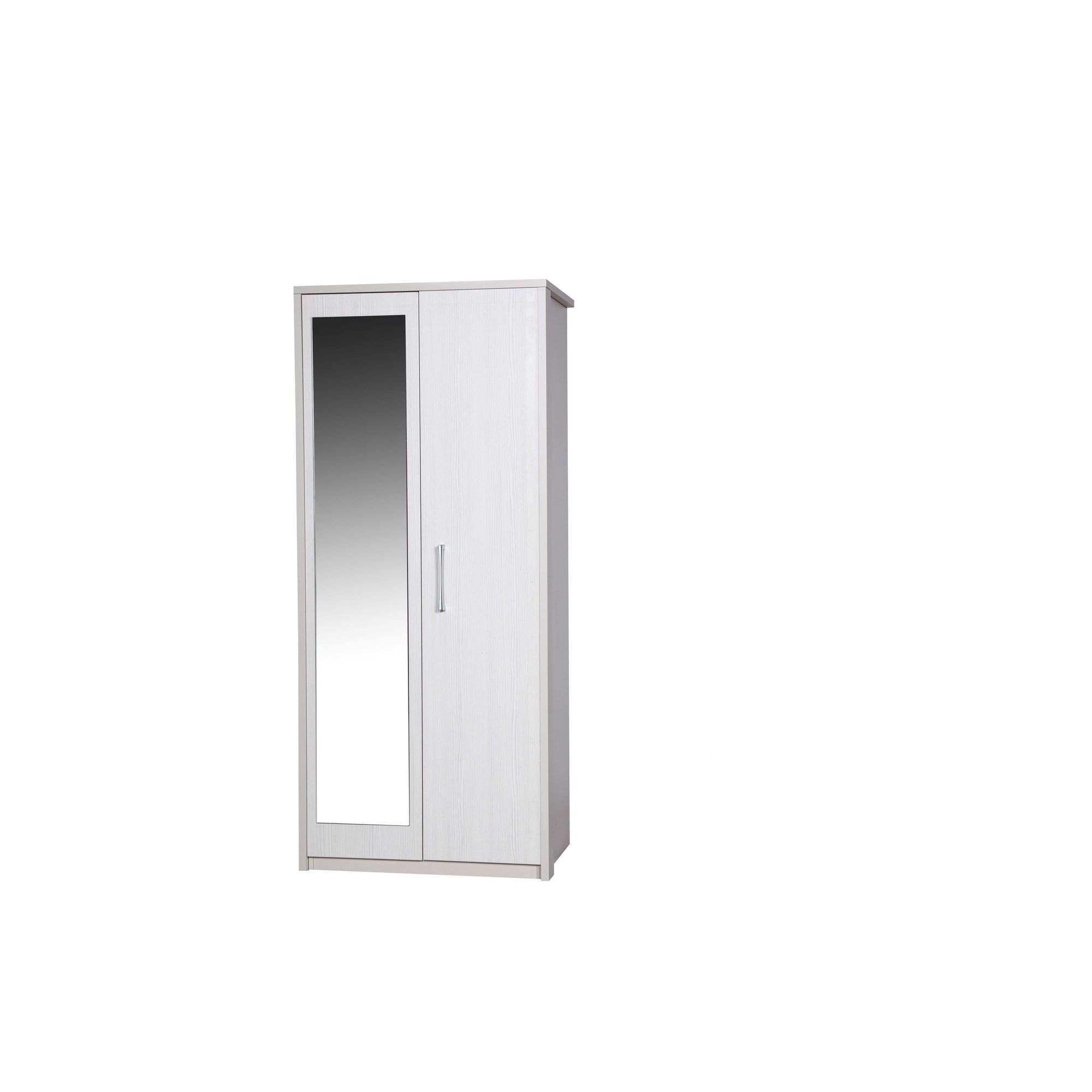 Alto Furniture Avola Double Wardrobe with Mirror - Cream Carcass With White Avola at Tescos Direct