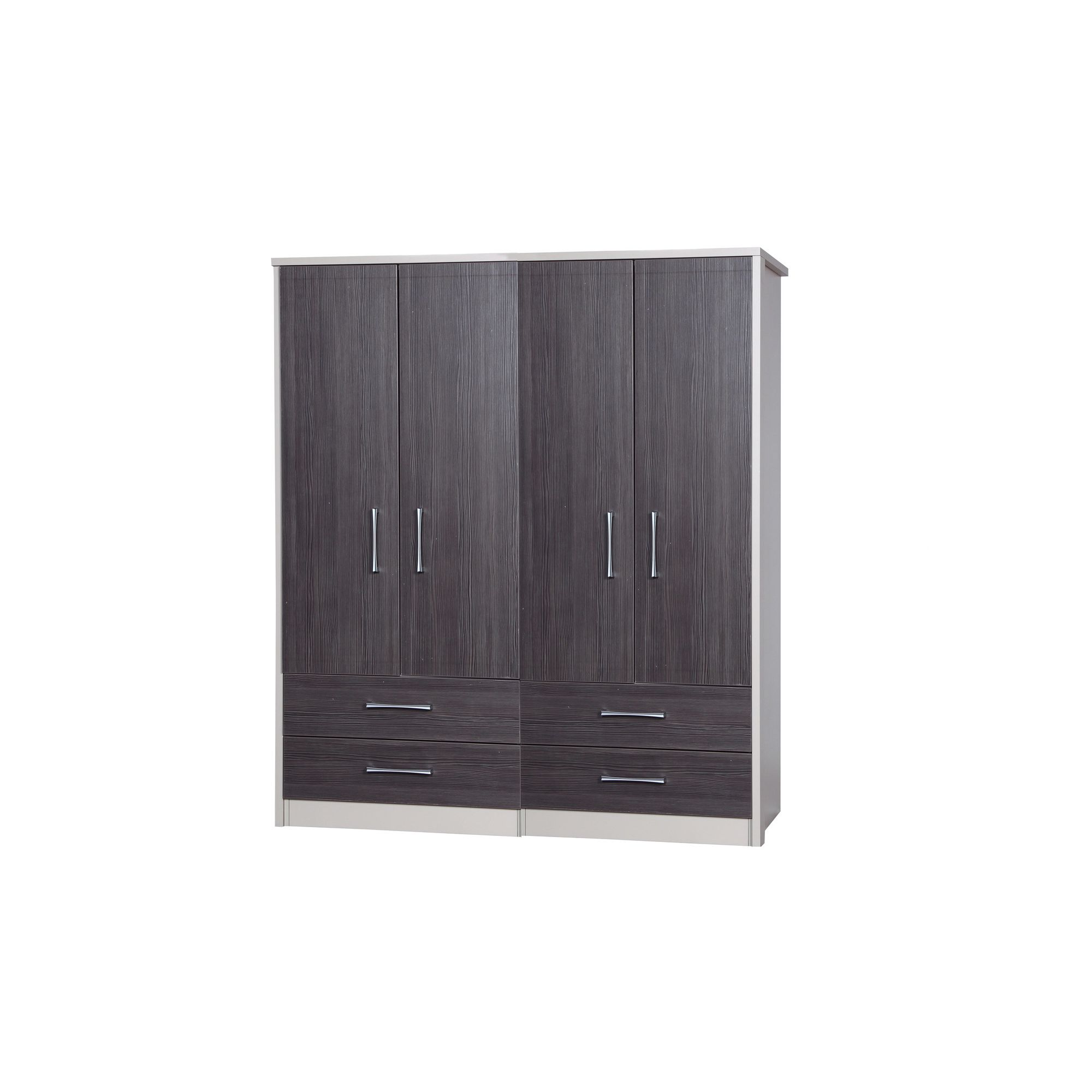 Alto Furniture Avola 4 Door Combi Wardrobe - Cream Carcass With Grey Avola at Tesco Direct