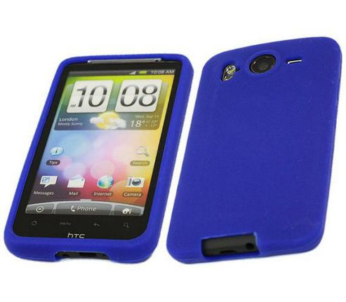 iTALKonline SoftSkin Silicone Case Dark Blue - For HTC Desire HD