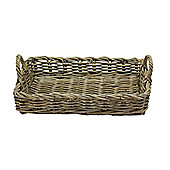Wicker Valley Rattan Tray Basket in Grey