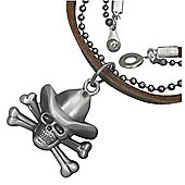 Urban Male Men's Brown Leather Necklace with Cowboy Skull Pendant