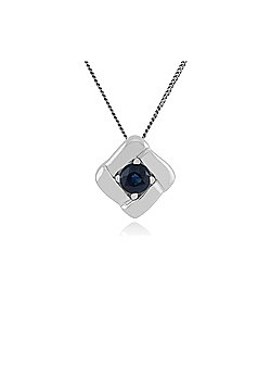 Gemondo 925 Sterling Silver 0.13ct Sapphire Square Crossover Pendant on 45cm Chain