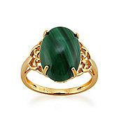 Gemondo Gold Plated Sterling Silver 4.50ct Malachite Cabochon Single Stone Ring