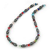 Stylish Oval Hematite/ Multicoloured Crystal Bead Magnetic Necklace - 40cm Length