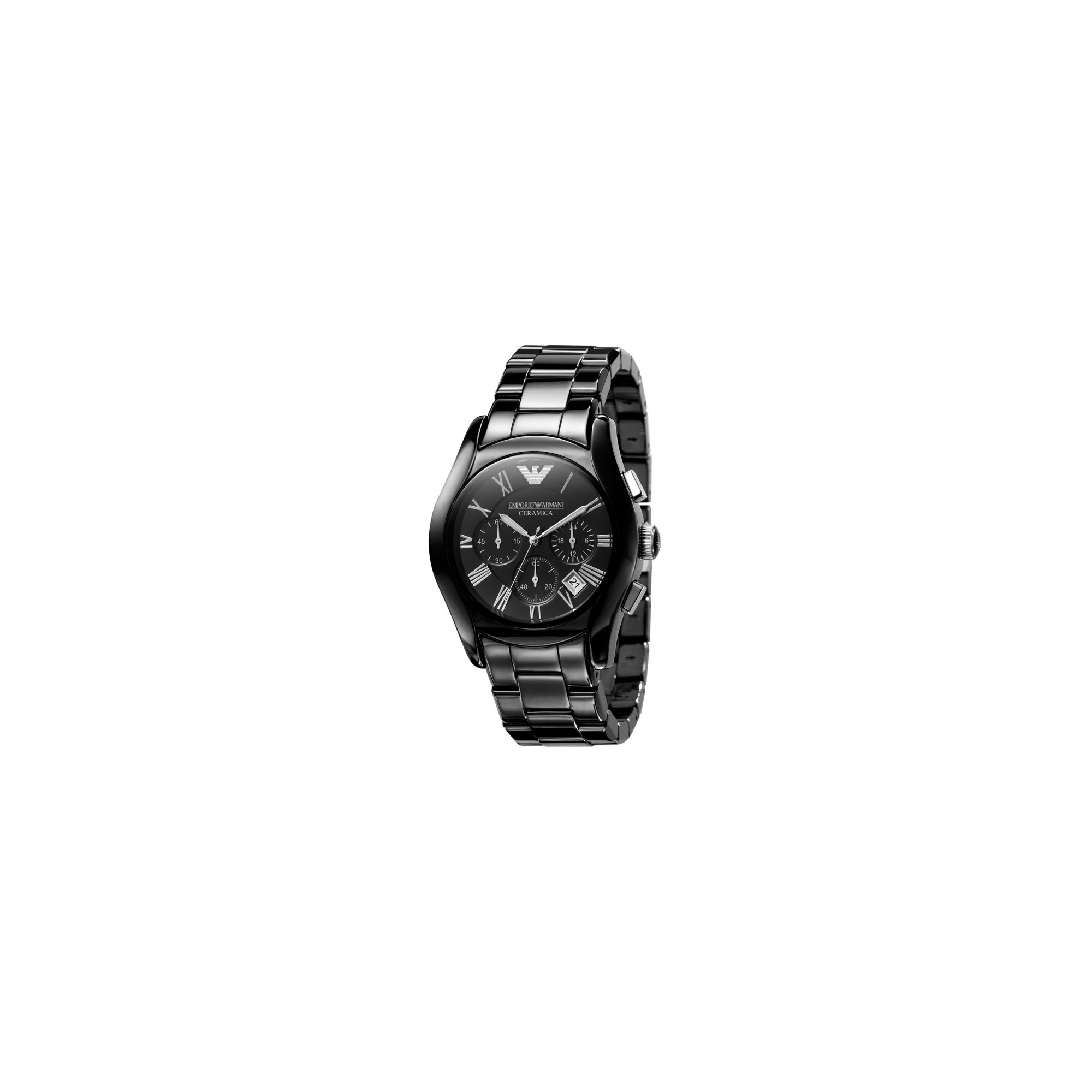 Emporio Armani Black Ceramica Chrono Watch at Tesco Direct