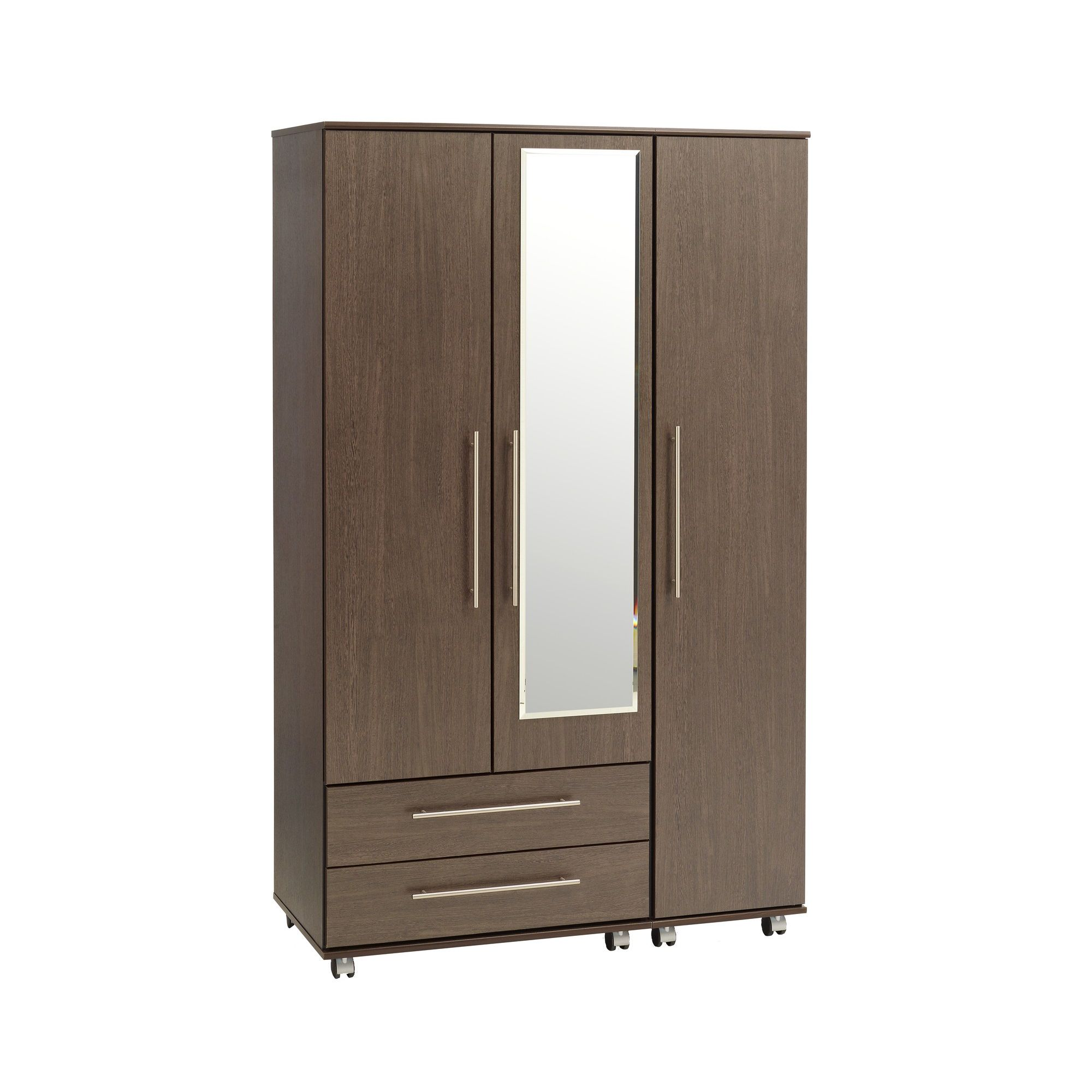 Ideal Furniture New York Triple Wardrobe with Two Drawers and Mirror - American Walnut at Tesco Direct