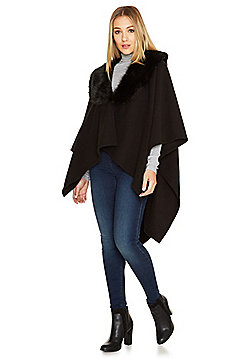 F&F Faux Fur Collar Fleece Wrap - Black