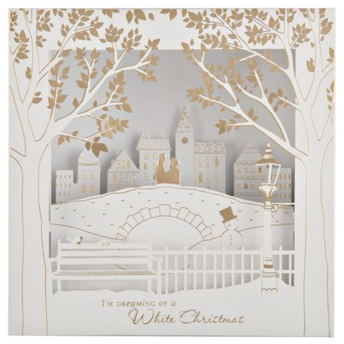 Tesco Luxury Winter Bridge Scene Christmas Cards, 6 Pack
