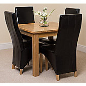 Oslo Solid Oak 90 cm Dining Table with 4 Black Lola Leather Chairs