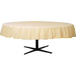 Ivory Round Tablecover - Plastic - 86cm x 2.1m