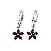 QP Jewellers 2.80ct Garnet Flower Star Earrings in 14K White Gold