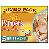 Pampers Simply Dry Size 5 Jumbo Pack - 66 nappies