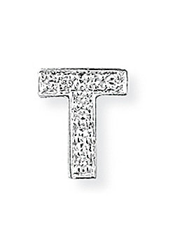 Jewelco London 9ct White Gold - Diamond - T' Initial Charm Pendant -