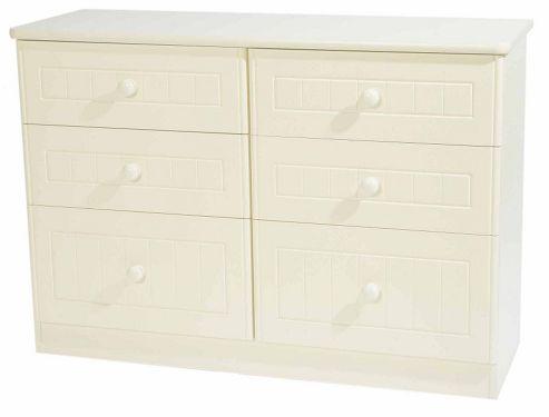 Welcome Furniture Warwick 6 Drawer Midi Chest - Cream