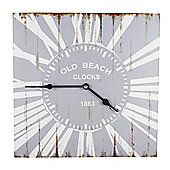 'Skye' Old Beach Style Wooden Square Home Wall Clock