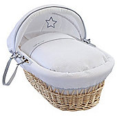Clair de Lune Natural Wicker Moses Basket (Silver Lining)