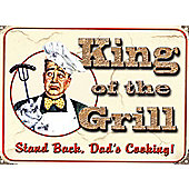 King of the Grill Stand Back, Dad's Cooking Tin Sign