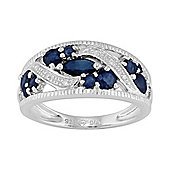 Gemondo Sterling Silver 1.27ct Natural Blue Sapphire & Diamond Classic Dress Ring