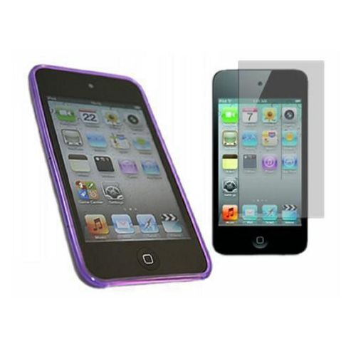 Purple Twin Pack ProGel Skin Case & LCD Screen Protector - iPod Touch 4G