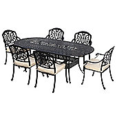 Bentley Garden Cast Aluminium Black 6 Seater Outdoor Dining Set