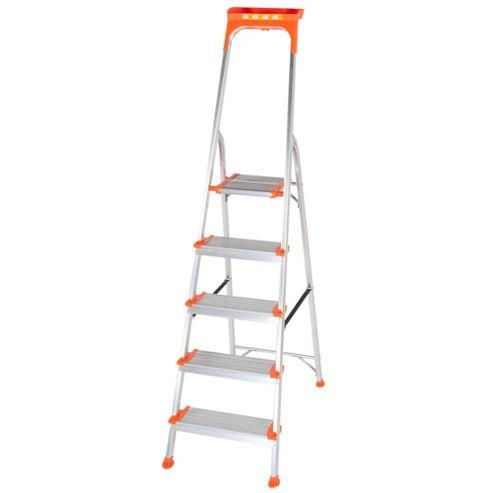 Trade Aluminium 5 Tread Wide Comfort Platform Step Ladder