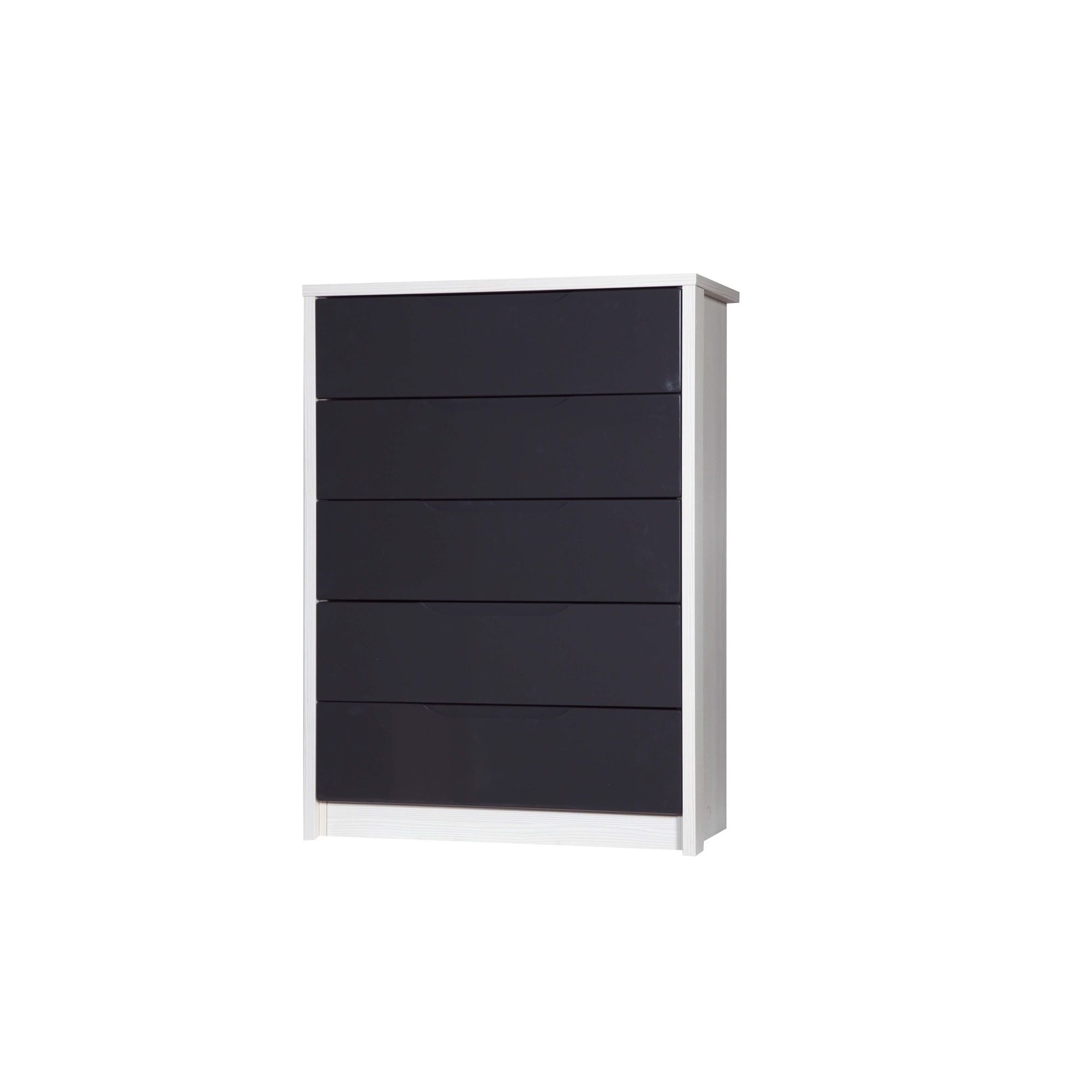 Alto Furniture Avola 5 Drawer Chest - White Avola Carcass With Grey Gloss at Tesco Direct