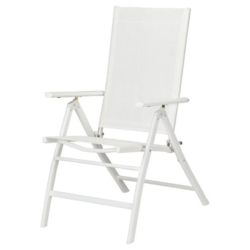 Seville Metal/Waterproof Woven Textile 5 Position Recliner - White