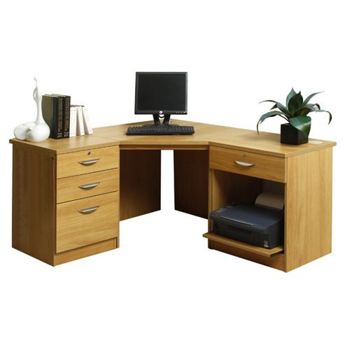 Buy enduro home office desk workstation with pedestal and printer storage beech from our - Tesco office desk ...