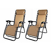 2X Palm Springs Zero Gravity Garden Chairs Lounge/Outdoor Yard Patio Chair Tan