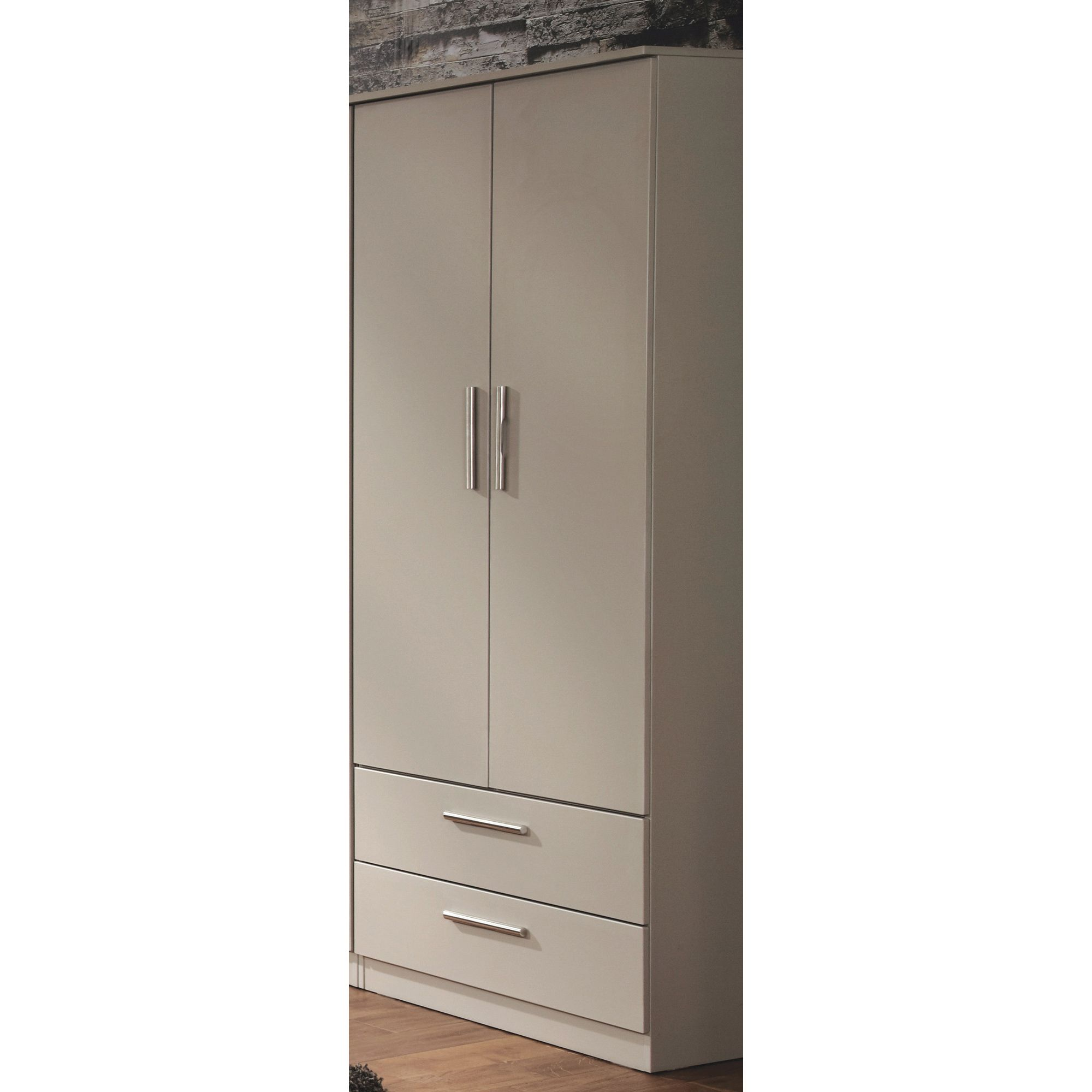Welcome Furniture Contrast Tall 2 Drawer Wardrobe - Vanilla at Tesco Direct