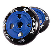 Pro Core 2 x 100mm CNC Cast Alloy High-Bounce Scooter Wheels, Blue