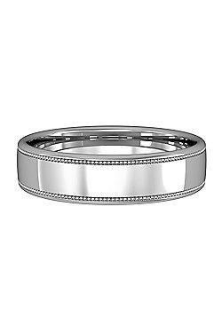 18ct White Gold 5mm Bombe Court Mill Grain Wedding Ring