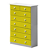 6 + 2 Chest of Drawers in White and Lime