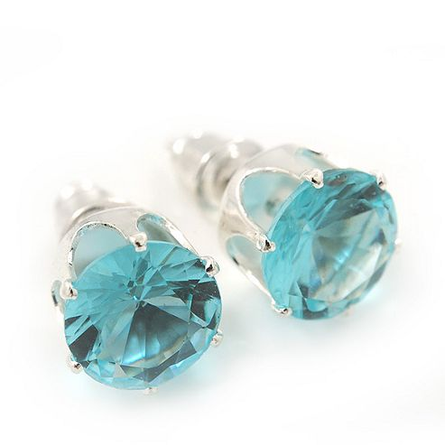 Classic Aqua Crystal Round Cut Stud Earrings In Silver Plating - 8mm Diameter