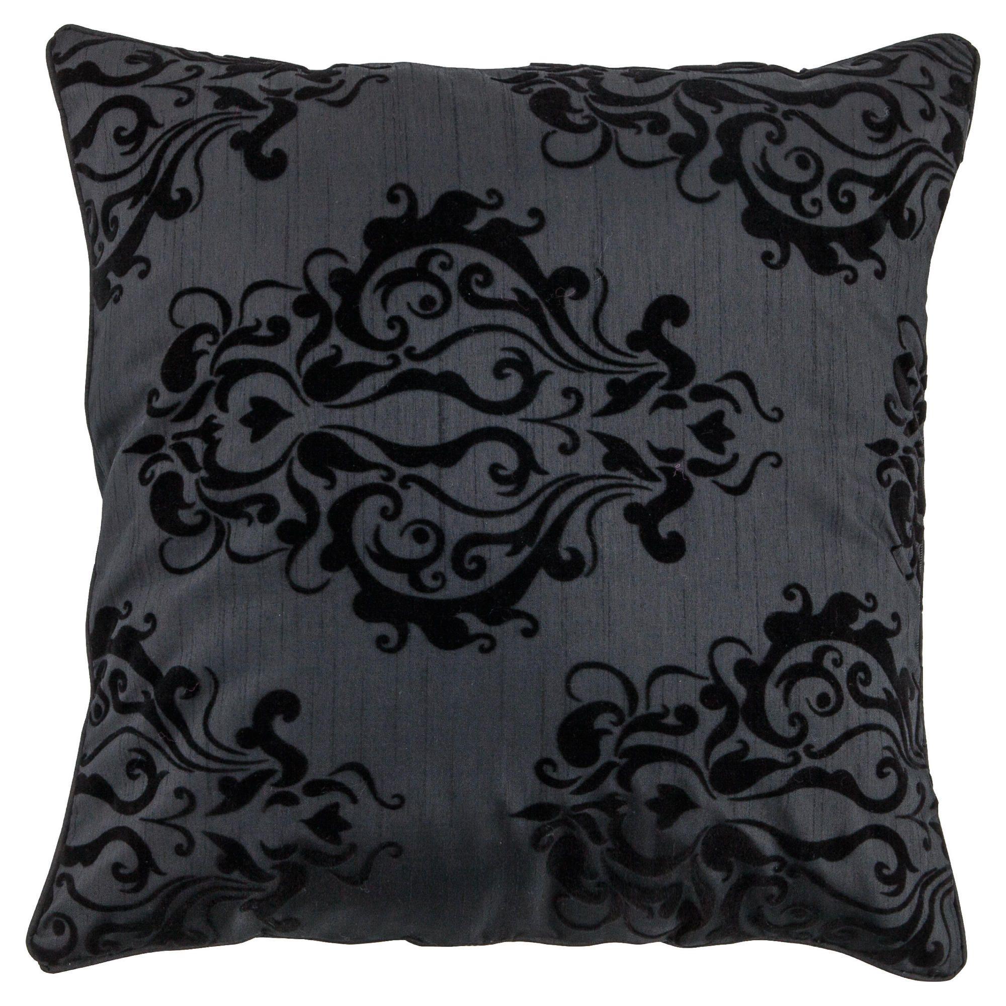 tesco flocked damask cushion cover black. Black Bedroom Furniture Sets. Home Design Ideas