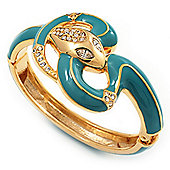 Gold Plated Crystal Turquoise Enamel Hinged Snake Bangle Bracelet