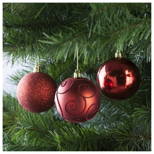 Festive Red Christmas Baubles, 6 Pack
