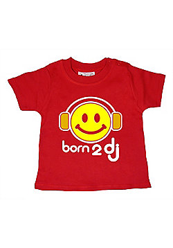 Dirty Fingers Born 2 DJ Baby T-shirt - Red