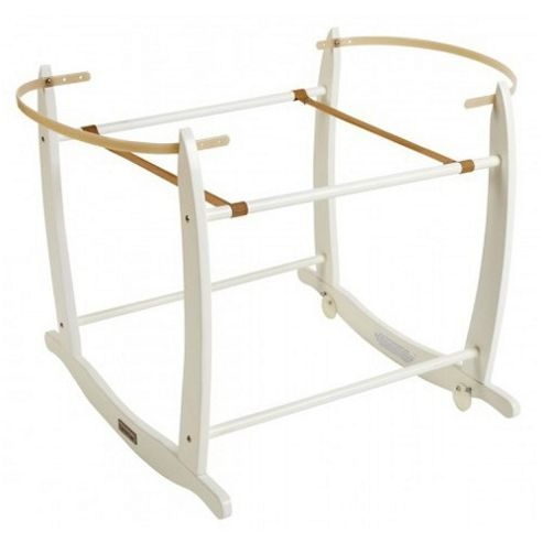 Clair de Lune Wooden Deluxe Rocking Moses Basket Stand - White