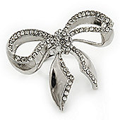 Rhodium Plated Diamante 'Bow' Ring - Adjustable (Size 7/9)