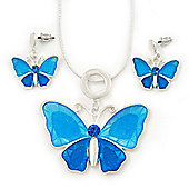 Light Blue Glass 'Butterfly' Necklace & Drop Earrings Set In Silver Tone - 38cm Length/ 5cm Extension