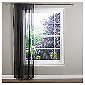"Crystal Voile Slot Top Curtains W137xL122cm (54x48""), Black"