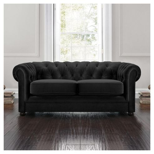 Chesterfield Velvet Effect Small Sofa, Black