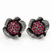 Fuchsia Crystal Textured Flower Stud Earrings In Burn Silver Finish - 2cm Diameter
