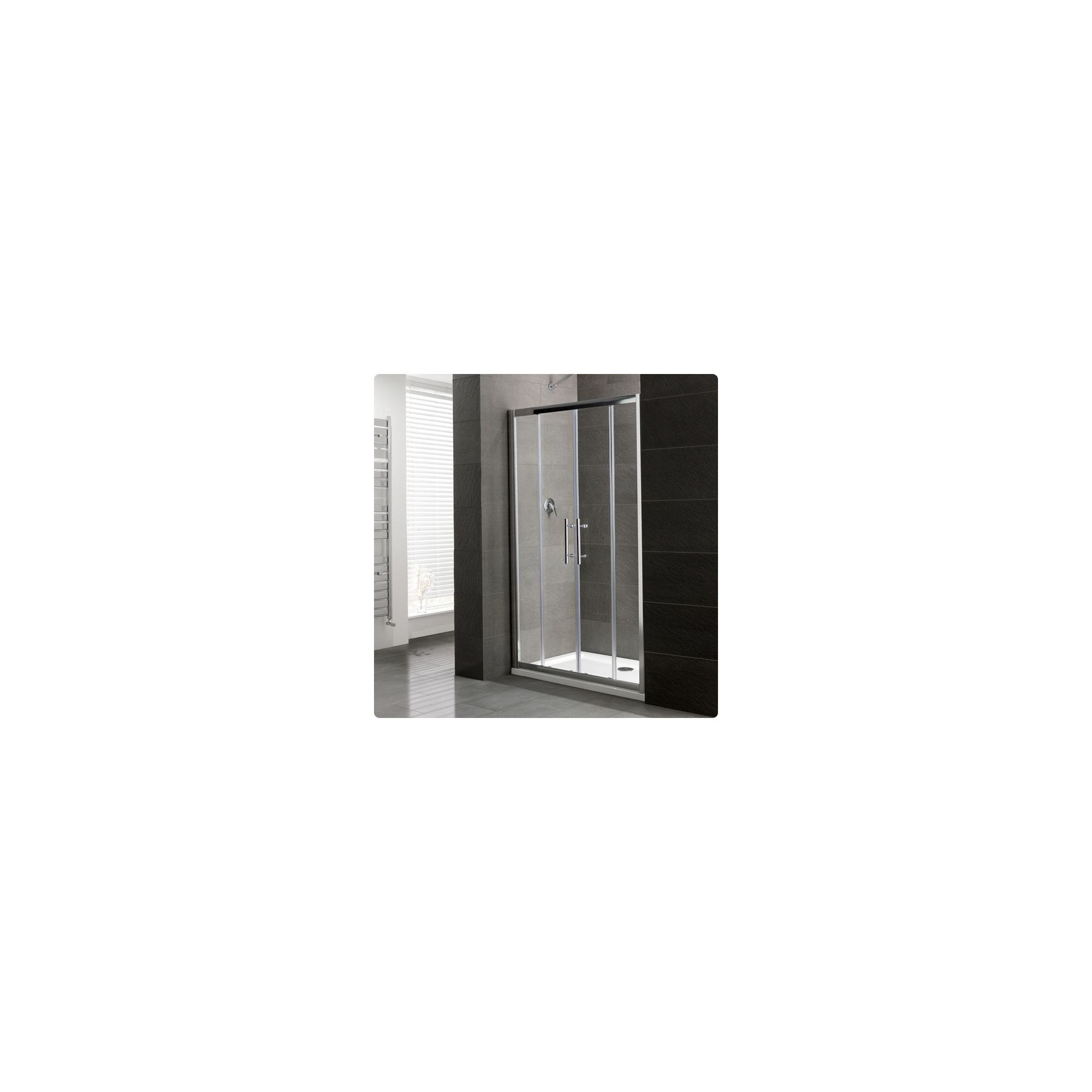 Duchy Select Silver Double Sliding Door Shower Enclosure, 1400mm x 800mm, Standard Tray, 6mm Glass at Tesco Direct