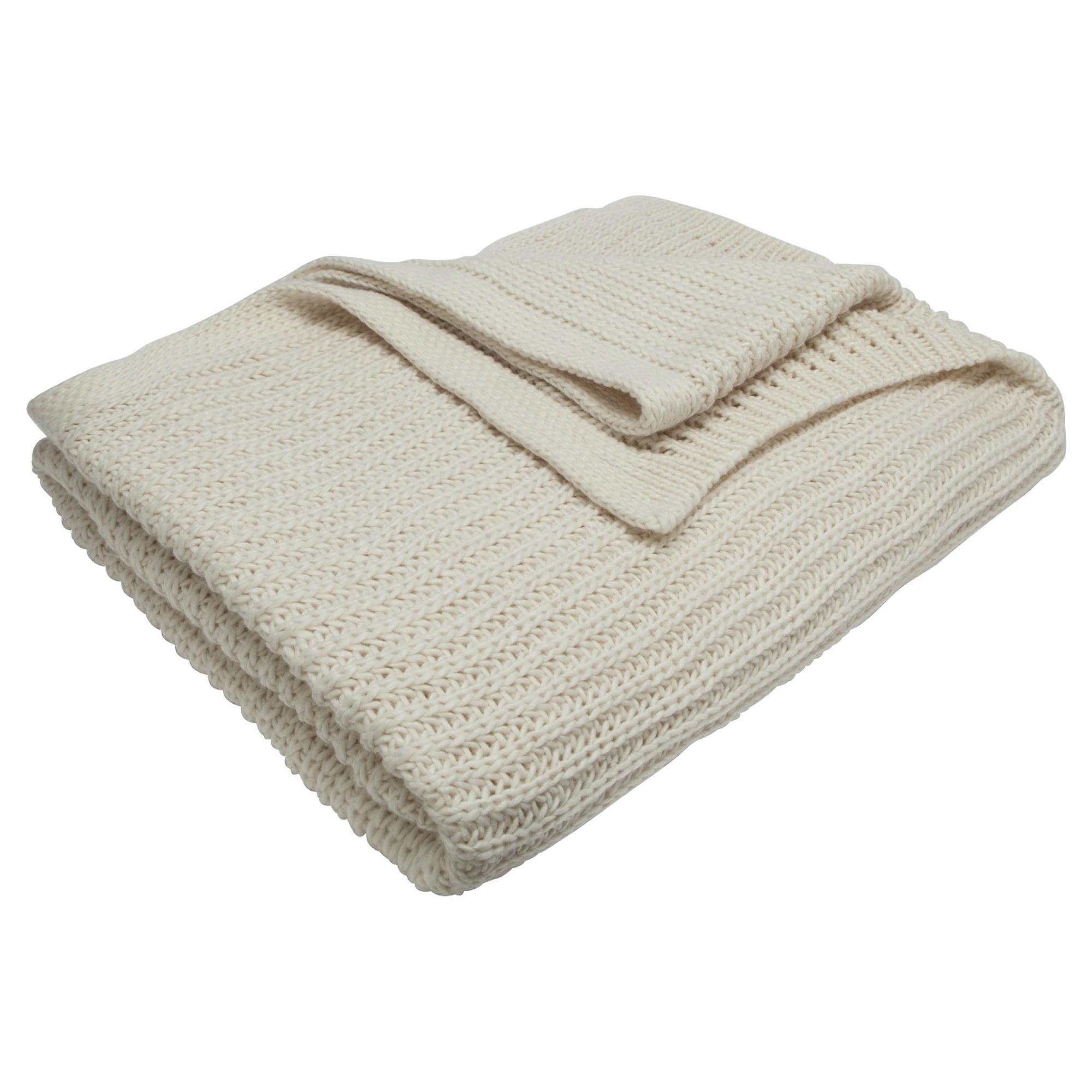 Tesco Chunky Knit Throw Cream