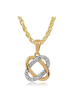 Gemondo 9ct Two Colour Yellow & White Gold Diamond Love Knot 'Timeless' Pendant Necklace