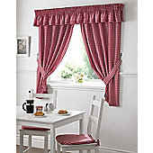 Gingham Kitchen Curtains - Red